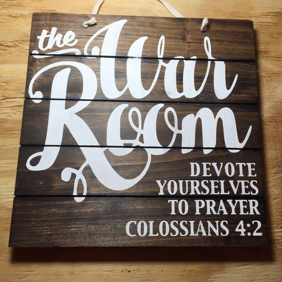 War Room Sign Wood Sign Pallet Sign Prayer by brownpaperpackaging