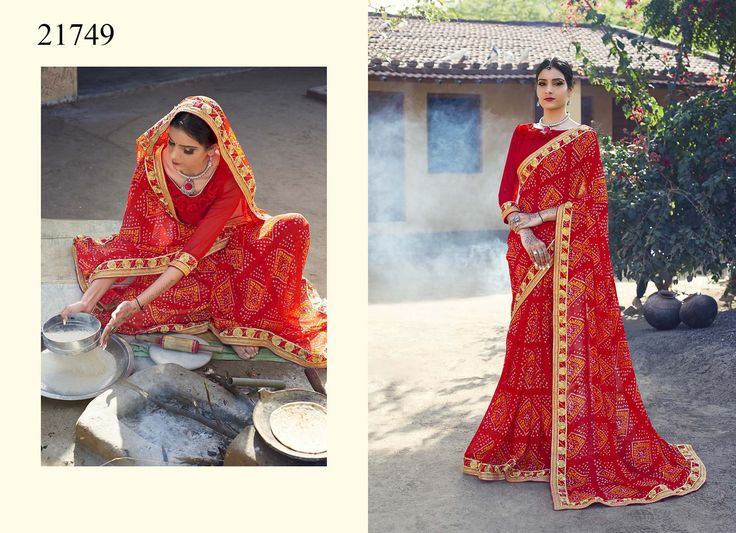 Explore Indian beauty by staying touch with Indian outfits like this pretty traditional red coloured Bandhani printed saree that will embrace your charm and silhouette. #womensfashion #sarees