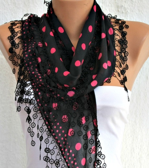Black Pink Scarf   Cotton  Scarf  Headband Necklace by fatwoman, $15.00