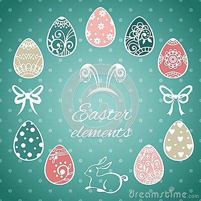 Set of cute Easter elements. Happy Easter. Easter eggs. Easter card. Vector illustration