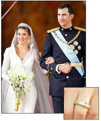 PRINCESS LETIZIA married Prince Felipe of Spain (then, one of the most eligible bachelors) in 2004. Instead of a traditional engagement ring, she wears a large white gold and diamond eternity band.