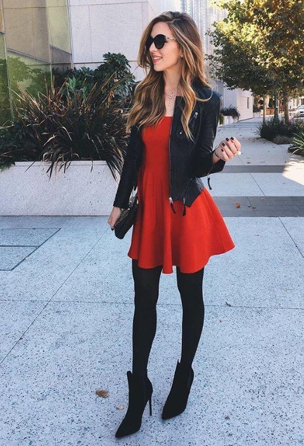 10 outfits de vestidos con chaquetas de cuero | Outfits de moda