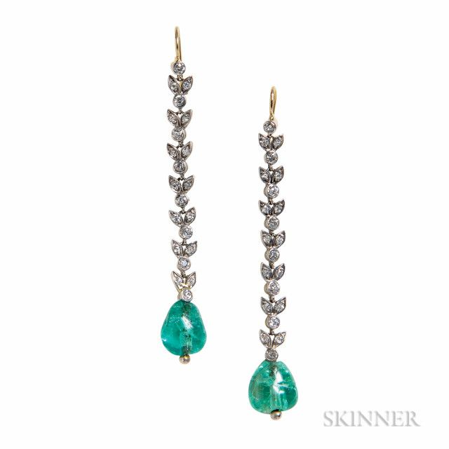 Emerald and Diamond Earrings | Sale Number 3027B, Lot Number 360 | Skinner Auctioneers