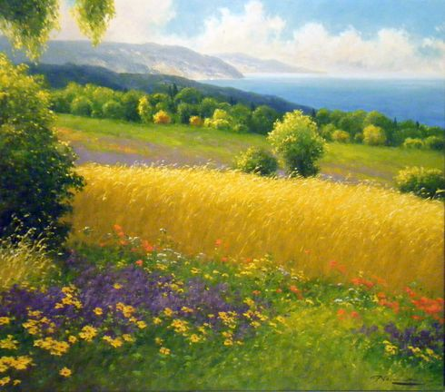 "GERHARD NESVADBA - Paintings""A Perfect View"" by Gerhard Nesvadba 35x39 Oil On Canvas"