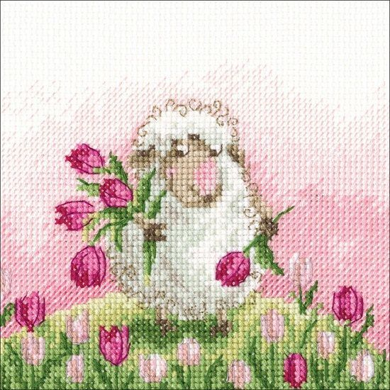 """♥ """"A Wish In Every Flower"""" counted cross stitch kit by RTO. Kit contains 14 count Zweigart Aida, pre-sorted DMC floss, John James needle, chart and instructions. The finished size is 5"""" x 5"""". ♥"""