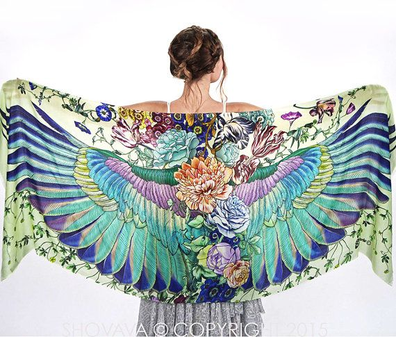 Shovova, Wings scarf, bohemian bird feathers shawl, SUBLIME, hand painted, digital print, wrap sarong, perfect gift