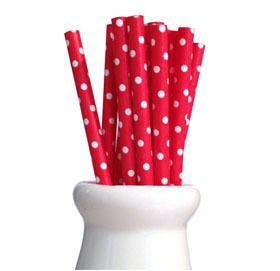 Swiss Dot Paper Straws Red, Straws