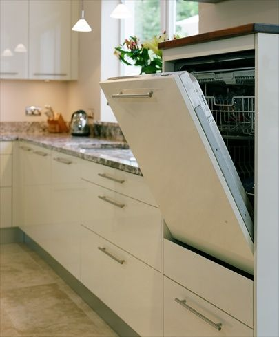 modern Danish style kitchen with raised dishwasher