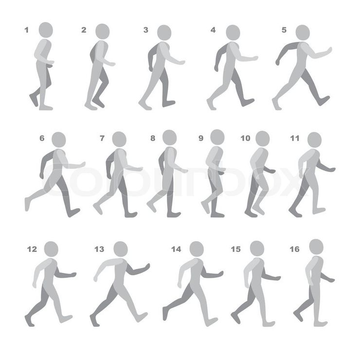 Stock vector of 'Phases of Step Movements Man in Walking Sequence for Game Animation. Vector Illustration.'