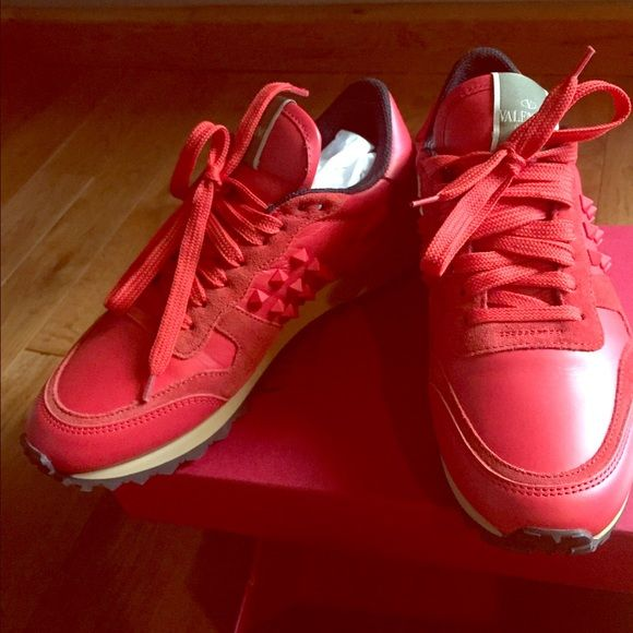 Valentino Rockstud Sneaker Red-Orange New with Box. Never worn. Email me for purchase.:) Valentino Shoes Sneakers