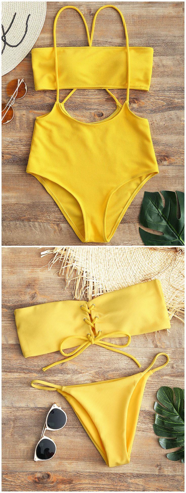 de02a341ccd8a48401f4972b37ee4b59 - Up to 80% OFF! Bandeau Lace Up Bikini Top And Thong Bottoms. #Zaful #Swimwear #B...