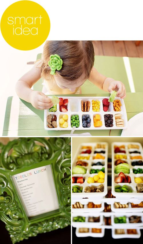 this could work (with an indiscriminating eater). or completely backfire (with a picky one).  hmmmmmm...: Fun Lunches, Toddlers Fun, Luncheskid Snacks, Toddlers Food, Toddlers Snacks, Ice Trays, Cubes Trayslunch, Toddlers Lunches, Toddlers Ice Cubes Trays