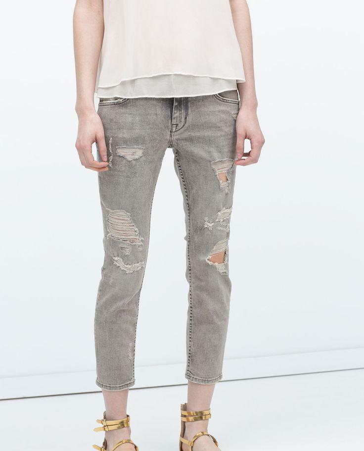 distressed jeans. zara.