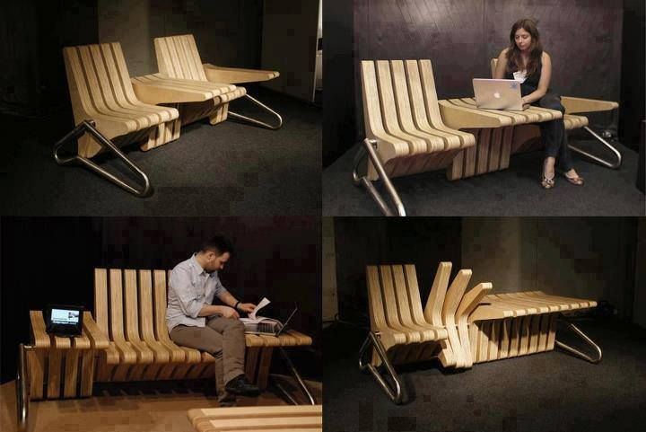 """coffee bench from  Beyond Studio; featured on diycozyhome.com: """"It was inspired by the need for a place to set your coffee while sitting in the garden on a bench. Now with this unique bench, you can flip a section and have an instant, flat place for your drink."""""""