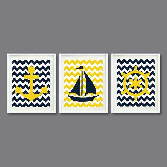Nautical Chevron Print Set-Three 8x10-Nursery, Kids Room, Home Decor-Yellow, Navy Blue and White OR Choose colors-Anchor, Wheel, Boat-3