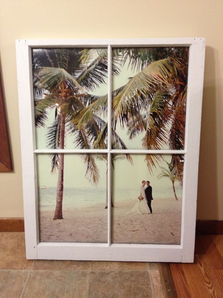 Vintage Window Pane Picture Frame For Wedding Photo 24x36