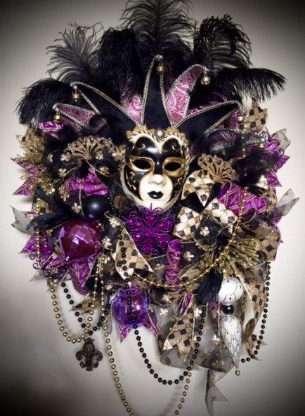 Mardi Gras Jester Mask Wreath, Jester's Mask Wreath, Mardi Gras Wreath, Turquoise Mardi Gras Wreath, Fat Tuesday Wreath, Mardi Gras Decor