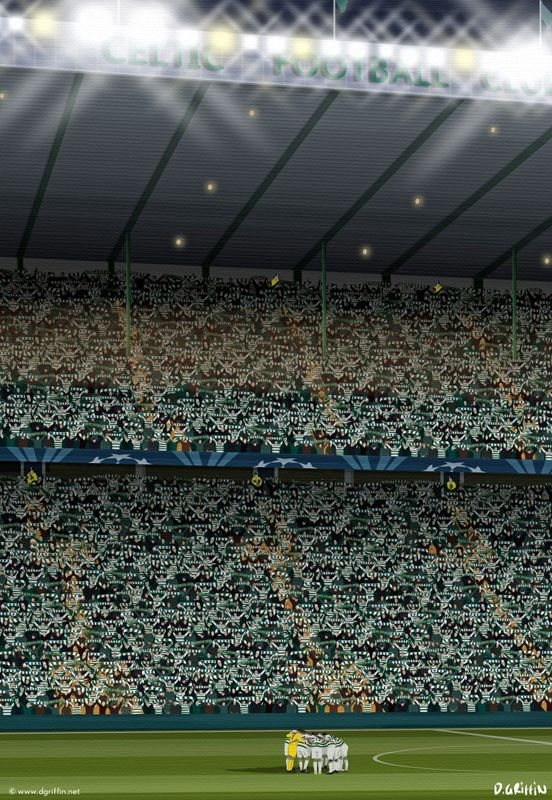 Celtic FC Art by www.dgriffin.net: The boys in green huddle as 'You'll never walk alone' rings around Celtic park before an unforgettable game against Barcelona in 2012.
