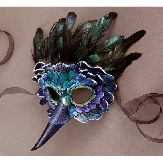 Painted Leather and Feather Mask