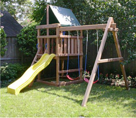DIY plans for swing sets  Plans sound very clear, heavier/sturdier wood, easy to disassemble to move to new house (or sell). Plans $29.95 but must buy all materials yourself.