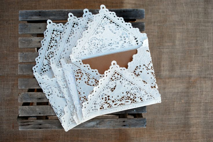 20 Lace Paper Envelopes for Wedding Invitation by LuminaLace