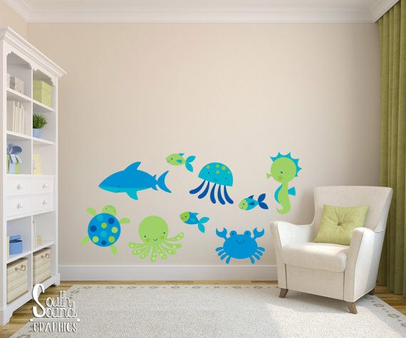 Fabric Wall Decals Set for Nursery or Kids Rooms - Ocean Kids Room Wall Decor - Sea Life Wall Graphics - Children's Underwater Bedroom Decor