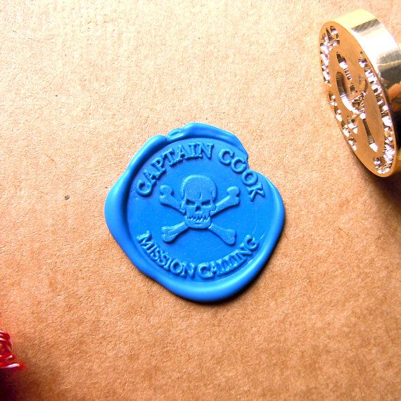 Skull Wax Seal Stamp Custom Captain Order Stamp by artcarf on Etsy, $20.00
