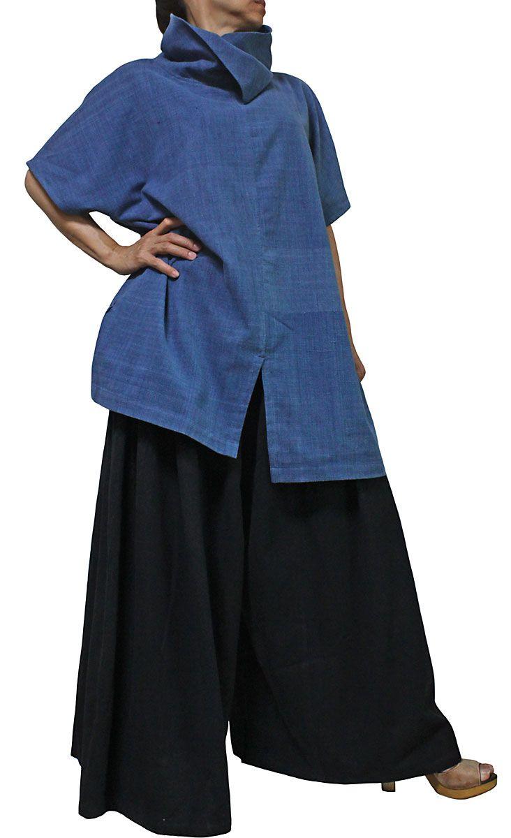 ジョムトン手織り綿のネックデザイン半袖チュニック