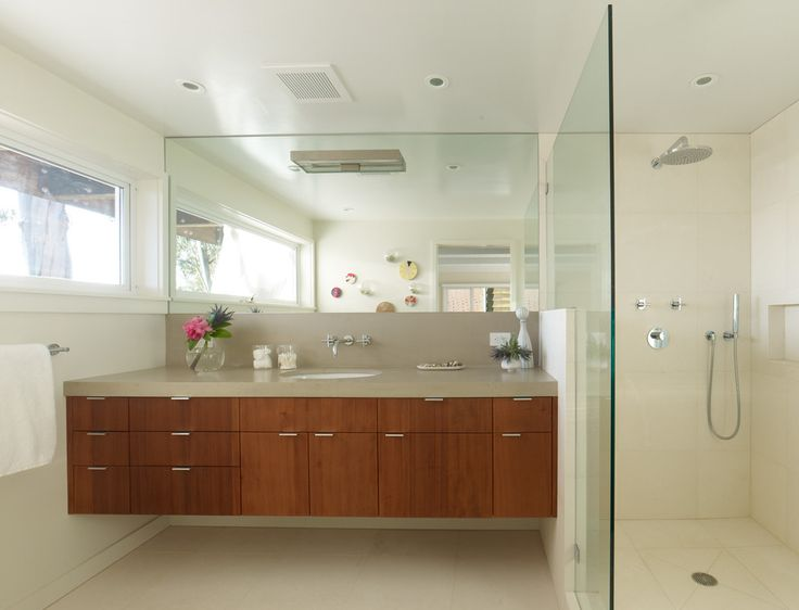 Modern Bathroom Faucets Bathroom Midcentury with Floating Vanity Glass Vase