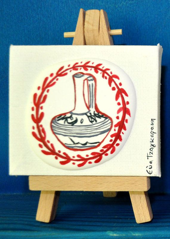 No.4 / Bearing cap with mini canvas, 12x8cm, mixed media/collage. Original paintings inspired by Ancient Greece by Eva Tzagaraki.