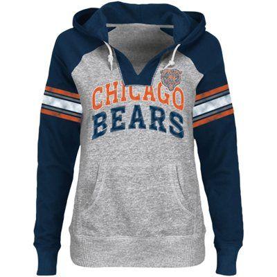 Chicago Bears Ladies Huddle III Pullover Hoodie - Ash/Navy Blue/Orange