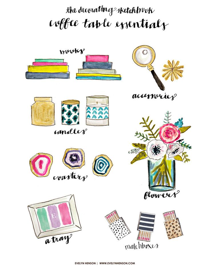 The Decorating Sketchbook // Coffee Table Essentials by Evelyn Henson // #behindthepalette www.evelynhenson.com