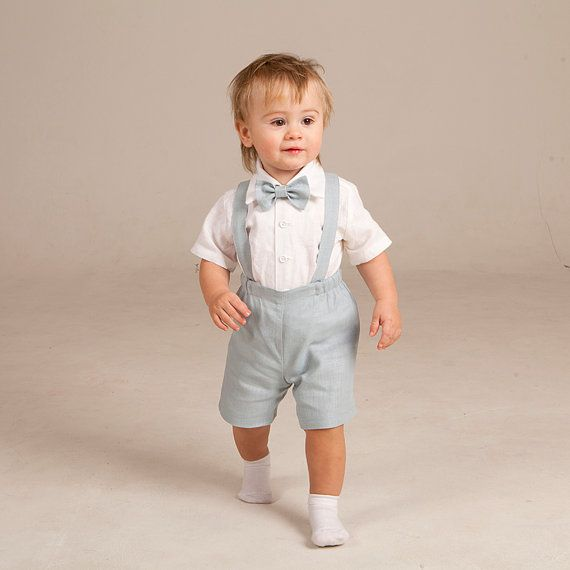 Boy Ring Bearer Outfit Baby Boy Linen Suspenders Suit
