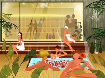 Vector Spa Illustration  A modern and healthy spa illustration, with relaxed women enjoying themselves in the background. Includes a hot jacuzzi, palm trees and various other plants.