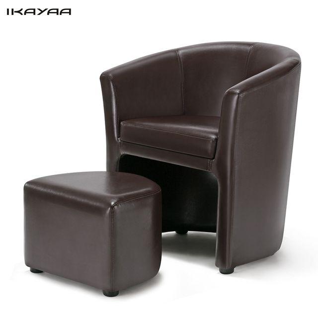IKayaa EE.UU. REINO UNIDO Stock Cuero de LA PU Silla Bañera Barril sillón con Otomana Acento Club Silla Muebles de Sala De Madera piernas