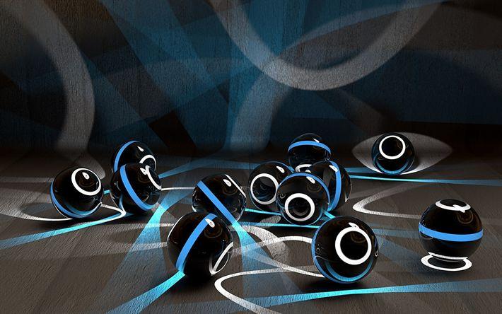 Lataa kuva 3d pallot, art, neon, luova