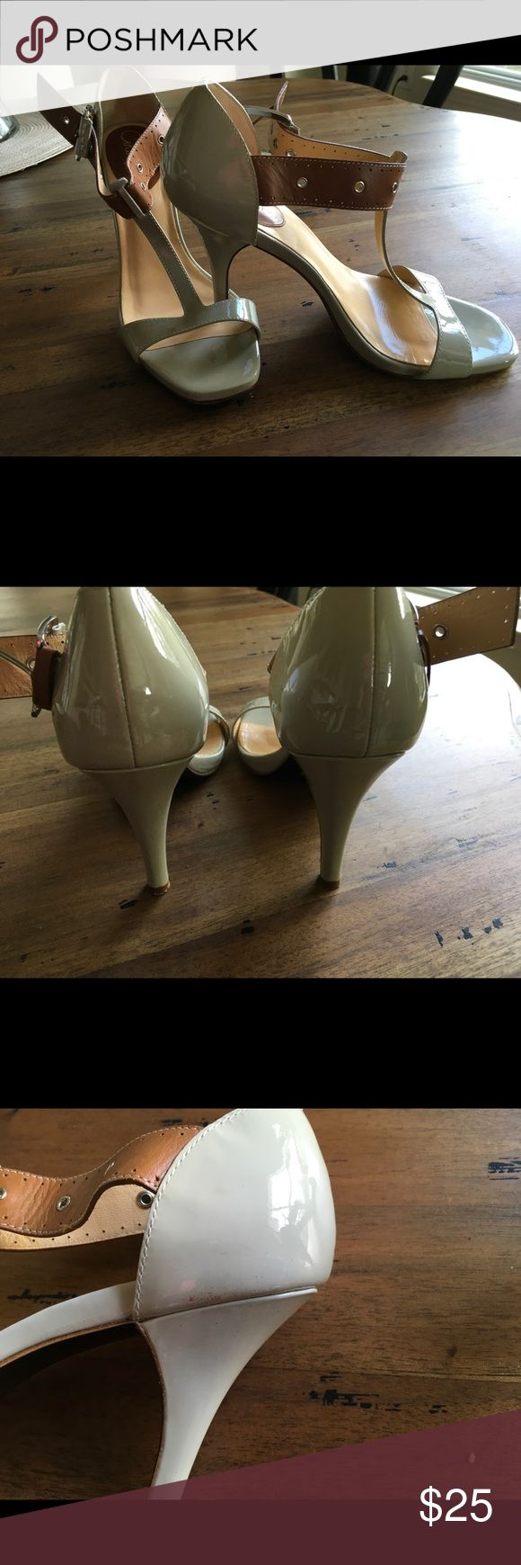 Cole Haan Nike T-Strap Heels Beautiful and super comfortable grey and tan heels. Nike system! Cole Haan Shoes Heels