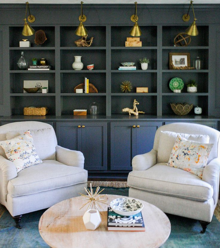 living room wall cabinets built%0A Dark Built ins  Brass swing arm sconce   House Seven
