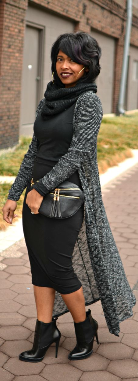 Black Skirt - Maxi Cardigan - Fall 2014 #streetstyle