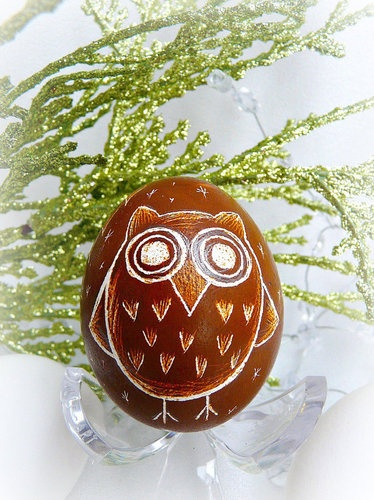 Etched Blown Real Egg Brown Owl
