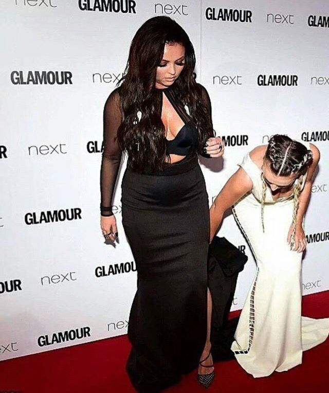 Little mix singers Jesy Nelson and Perrie edwards at Glamour awards 2016
