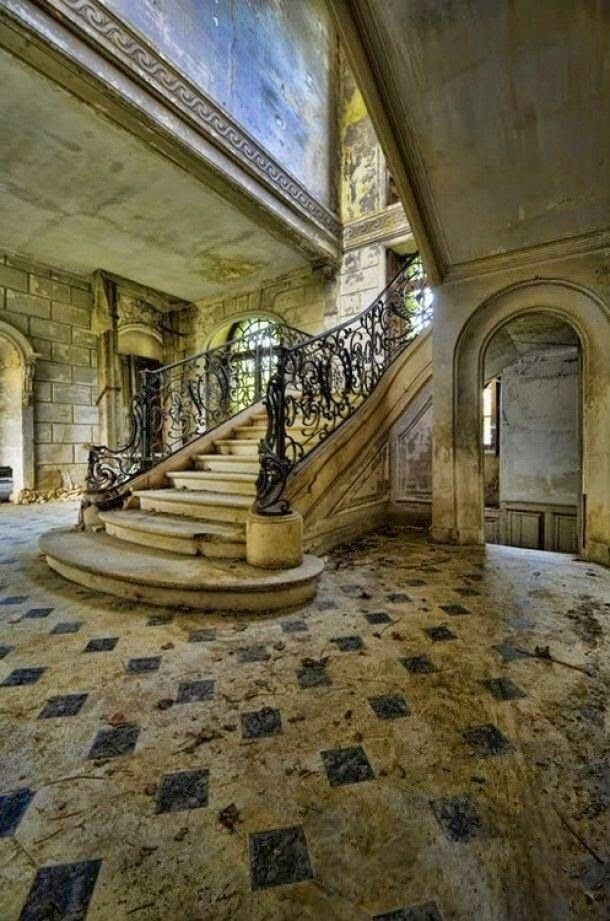 Old Staircase in an Abandoned House in France …