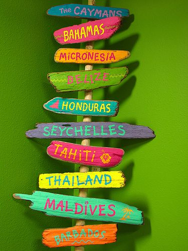 I'm going to find out the miles to my favorite places and make these signs for my tiki bar we'd like to have in our back yard someday