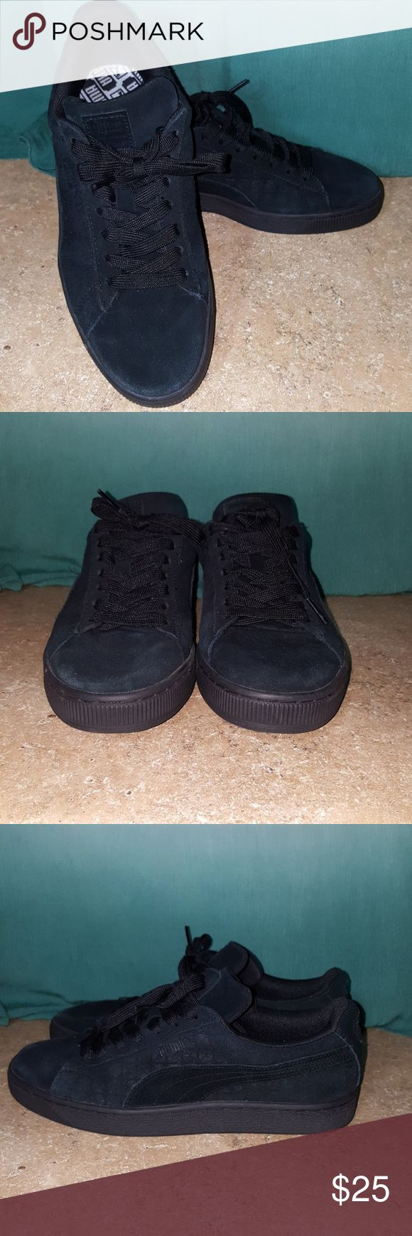 Black Puma shoes size 8 Suede black Puma shoes. Worn only once, they still look brand new. No scuffs. Puma Shoes Sneakers