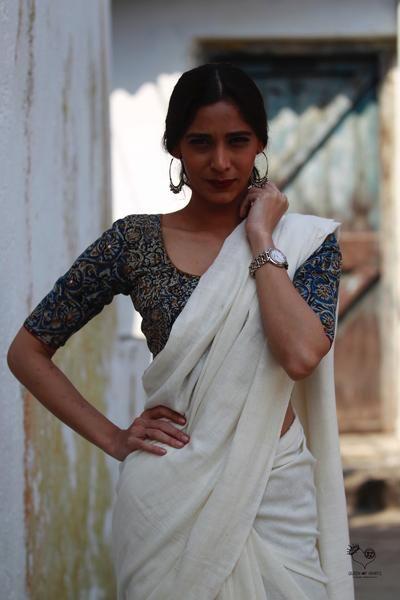 Indigo Mustard Mirror Kalamkari Cotton Blouse