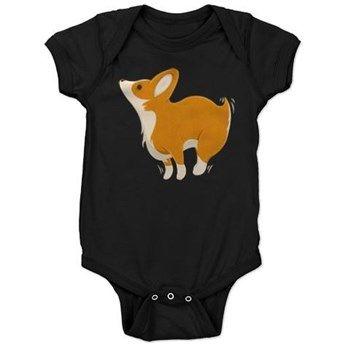 Cartoon Corgi Baby Bodysuit from cafepress store: AG Painted Brush T-Shirts. #baby #dog #corgi