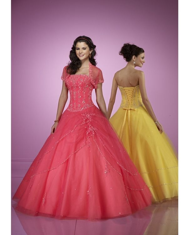 Best Shop Strapless A line Princess Ball Gown Embroidery Floor Length Wedding Dresses Red Yellow online Discount available