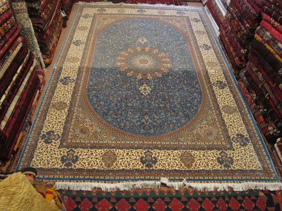 Size:6.11 ft by 10 ft Handmade Rug Vintage Blue Oriental Best Faded Pure Silk Carpet,Large,Pure Silk Kashmir Rug,Pure Silk Turkish Large Rug