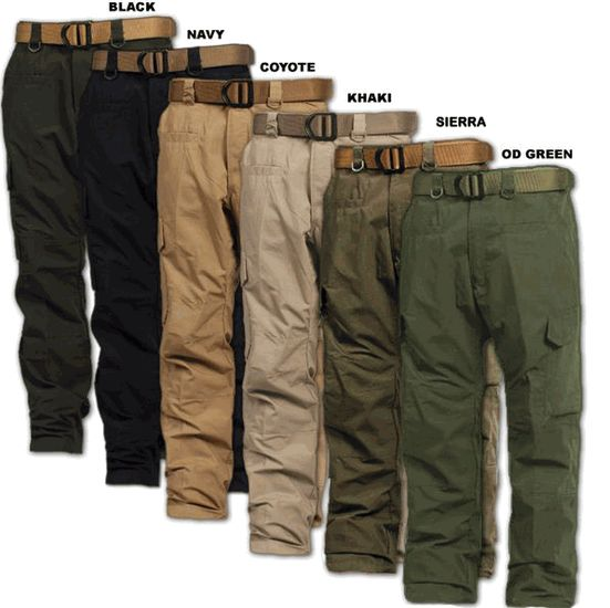 "LA Police Gear Operator Tactical Pants  $19.99  These pants can accommodate typical 1.5"" and 1.75"" belts (sold separately).  A Total of 8 Pockets!  60% Cotton / 40% Polyester Rip-stop fabric"
