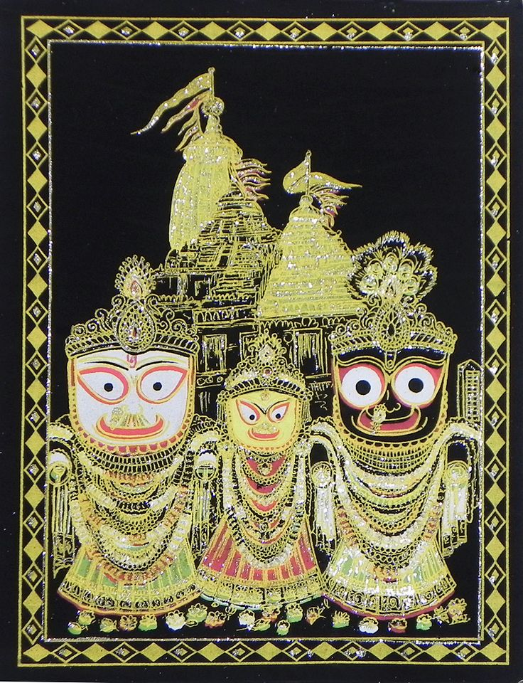 Jagannath, Balaram, Subhadra with Temple in the Background - (Silver and Golden Glitter Painting) (Painting on Velvet Cloth - Unframed)